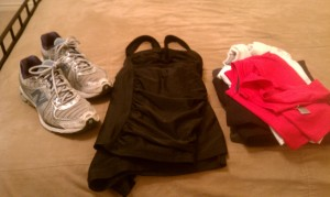 I'm ready for activity! I've got my shoes, socks, workout gear, and swim suit packed!